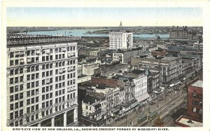 Bird's Eye View of New Orleans, L.A. Showing Crescent Formed by Mississippi River