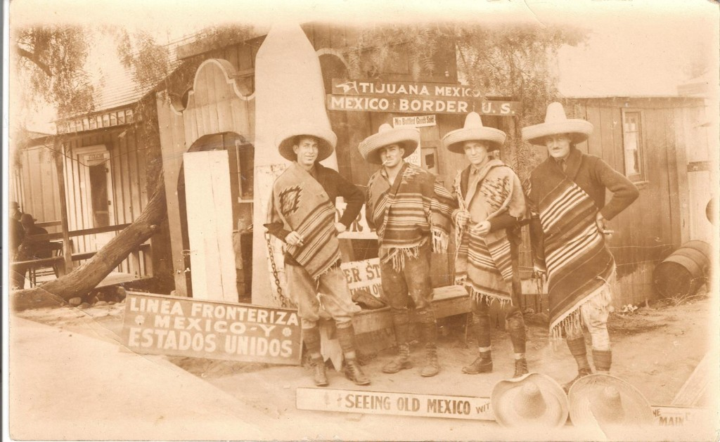 Post card they had made in Mexico.  L to R  Lloyd, Mitch, Clarence and Ben