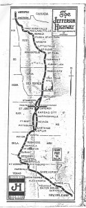 Jefferson Highway Map from the 1922 Jefferson Highway Tourist Guide courtesy of the Jeffersonhighway.org