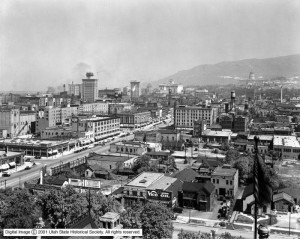 Used by permission, Utah State Historical Society Title: 400 South Between State Street and 200 East, Panorama #1 Collection:  Mss C 275; Shipler Commercial Photographers Collection Photo #: Shipler #20249  (May 1920)