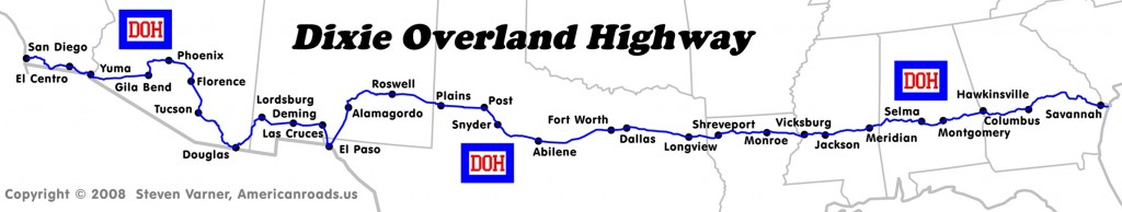 Dixie Overland Highway Map (provided by Steven Varner)