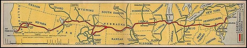 Lincoln Highway Map (Public Domain)