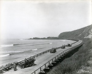 Lloyd could have traveled over the Rincon Causeway in Ventura as it was par of the Pacific Road. It was completed in 1912 and replaced in 1924.  It was made of wood and was 7000 ft long. (Public Domain)
