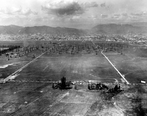 A 1922 aerial view of Hollywood Notice there is lack of the HOLLYWOOD sign but also notice the oil wells