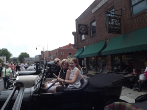 The sisters in a 1920 Model T picture taken at the July Model T car show in Boone, North Carolina (front to back)  Claire, Pam, and Susan