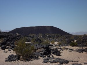 Volcano and lava field