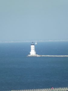 light house at end of breakwater