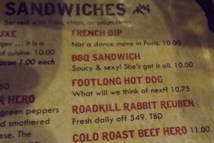Roadkill Rabbit on the menu