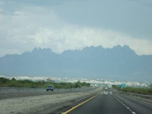 spiky mountains -but it was hazy.
