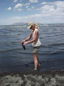 Pam sinking in the great Salt Lake
