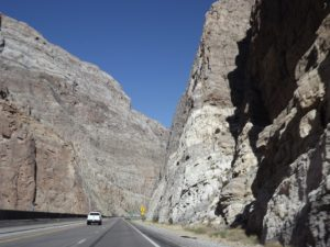 the cliffs on both sides of the highway