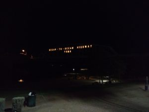 Ocean to Ocean Hwy bridge at night