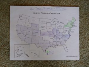 green is the North East trip and Purple is our trip this year